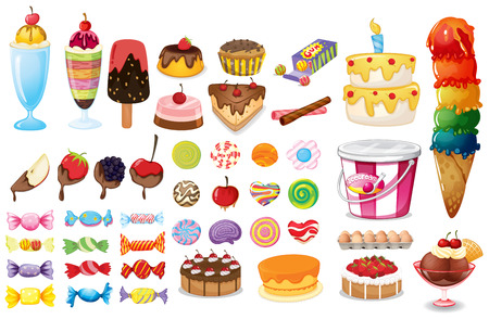 Assorted foods, sweets and desserts on white Ilustracja