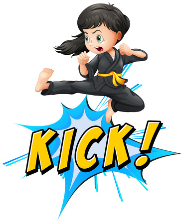wording: Karate kik with girl and wording Illustration