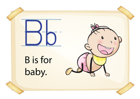 infant school: A letter B for baby on a white background