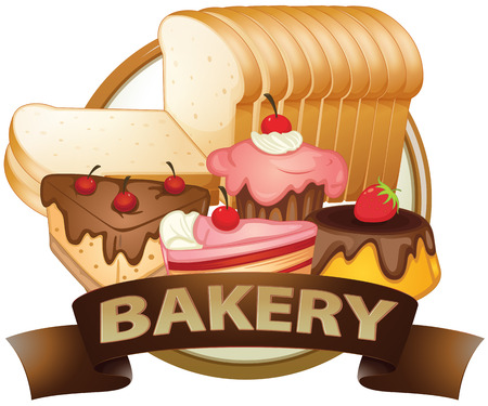 baked goods: Brown bakery label with baked goods Illustration