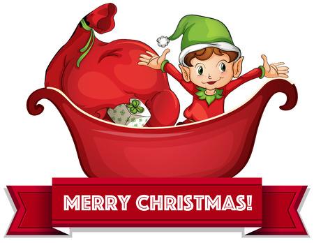Christmas elf in sled on white