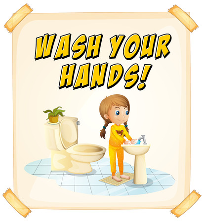 text room: Wash you hands poster with child Illustration