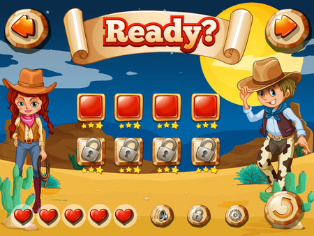 western: Wild west game theme with elements and icons Illustration
