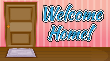 welcome home: Welcome home text inside a room