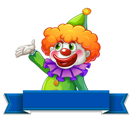 look up: Clown banner label on white