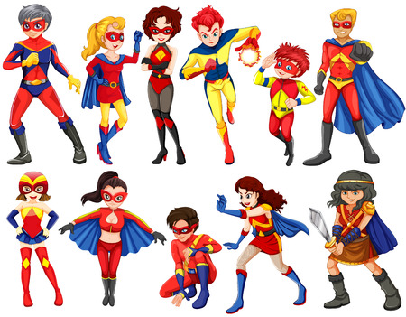 A group of heroes of male and female on a white background Ilustração