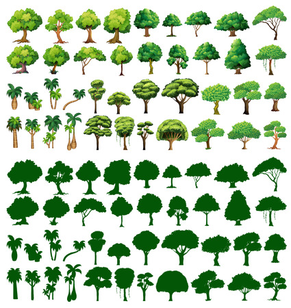doodle art clipart: Silhoutte of trees on a white background