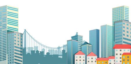 Stedelijke stad scène met gebouwen en brug Stock Illustratie