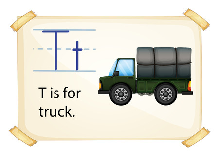 t background: A letter T for truck on a white background