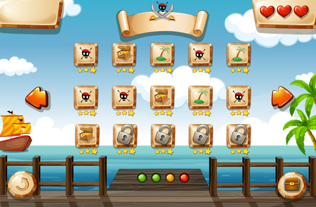 games: Pirate themed game elements and icons Illustration
