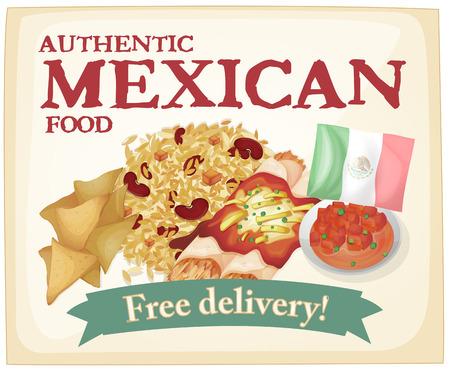 dinner food: Cartel comida mexicana con la bandera Vectores