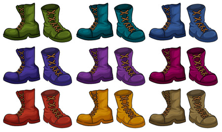 breen: Colourful boots set on white Illustration