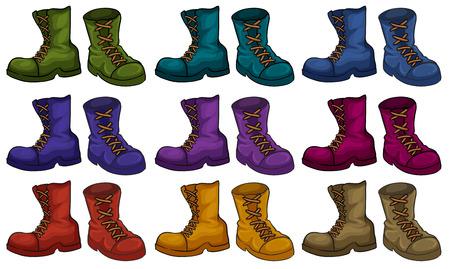 breen: Stivali colorati set su bianco Vettoriali
