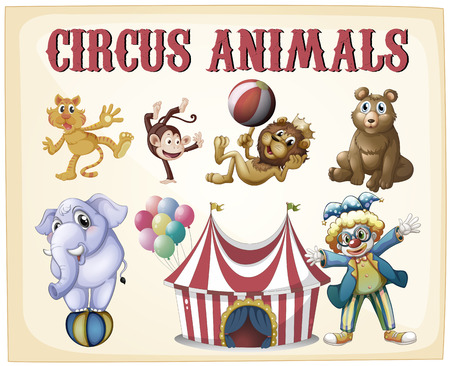 Circus animals on a vintage retro poster Illustration