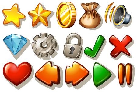 Verschiedene Spieldesignelemente auf weißem Illustration