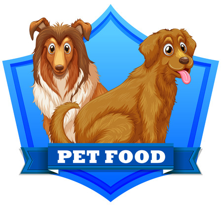 collie: Pet food dogs on label or sticker