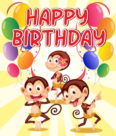 Happy birthday with a monkey theme Illustration