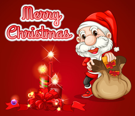wording: Merry Christmas theme with santa on red Illustration