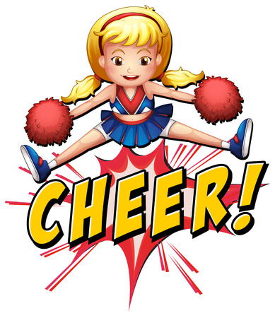 pom pom: Cheerleader jumping over the word cheer