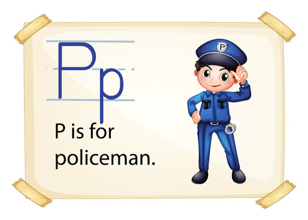 letter p: A letter P for policeman on a white background Illustration