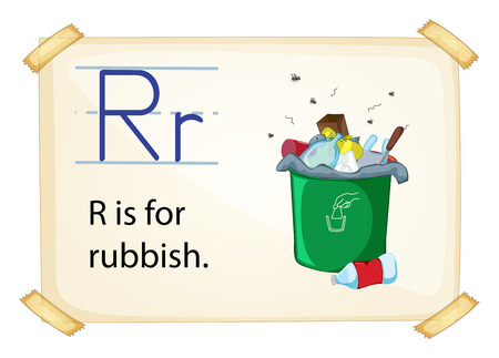 biodegradable: A letter R for rubbish on a white background Illustration