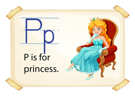 highness: A letter P for princess on a white background