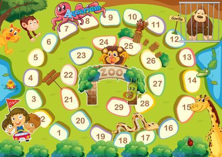 animaux zoo: Zoo th�me jeu de plateau avec des num�ros