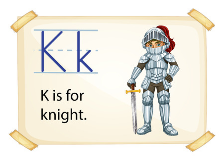 consonant: A letter K for knight on a white background Illustration