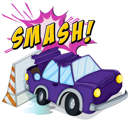 Car accident with smash text Illustration