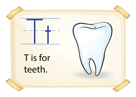 grinding teeth: A letter T for tooth on a white background
