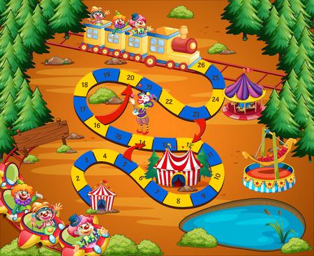 Circus thema bordspel met funpark Stock Illustratie