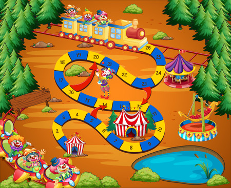 clip art numbers: Circus themed board game with fun park