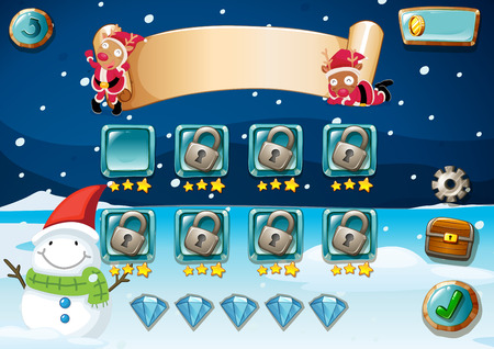 scenery set: Christmas game theme with elements Illustration