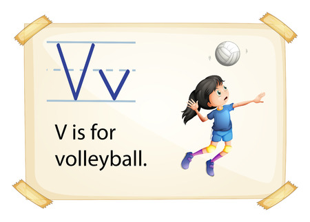 small girl: A letter V for volleyball on a white background