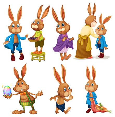 Conjunto de conejos de conejito en blanco