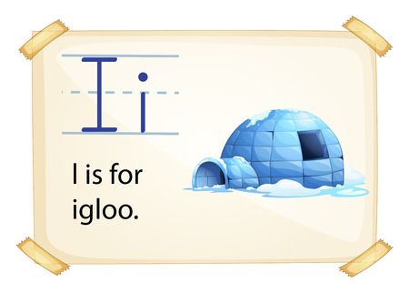 igloo: A letter I for igloo on a white background