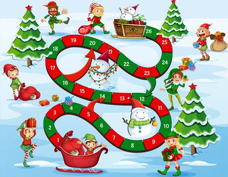 bonhomme de neige: Thème de Noël jeu de plateau avec des numéros