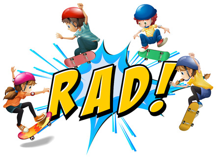 radical: Radical kids skating over the word