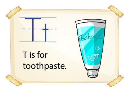 fluoride toothpaste: A letter T for toothpaste on a white background Illustration