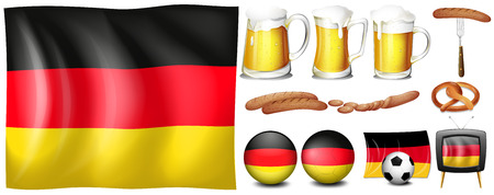 draft beer: German flag and objects set Illustration