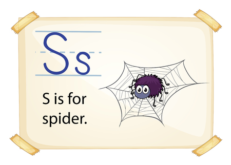 A letter S for spider on a white background