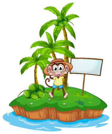 menu land: A monkey in the island with an empty board on a white background