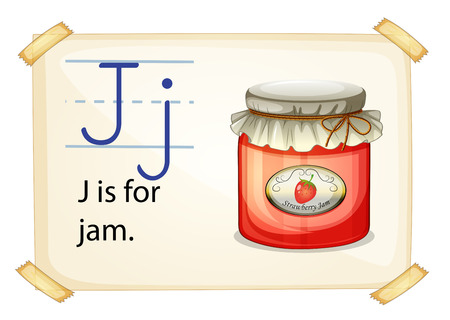 consonant: A letter J for jam on a white background
