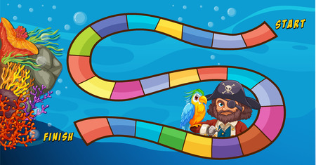 Pirate themed board game underwater Vector