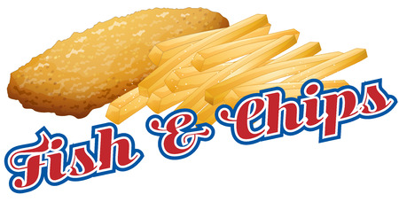 fish and chips: Fish and chips sticker label met tekst Stock Illustratie