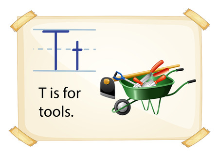 t background: A letter T for tools on a white background