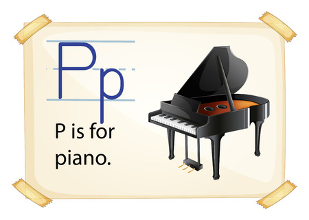 consonant: A letter P for piano on a white background Illustration