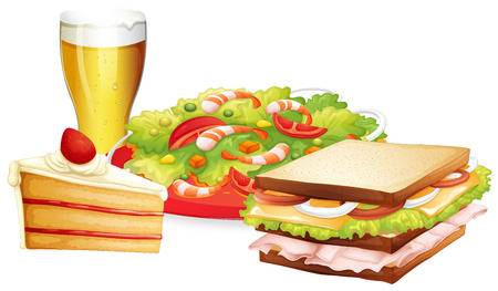 ham sandwich: Cake, salad and beer lunch set