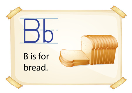 b n: A letter B for bread n a white background