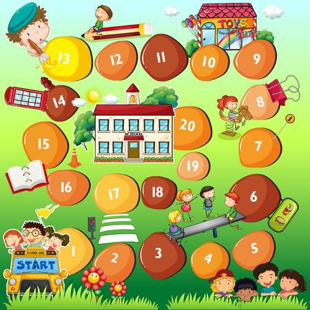 Illustratie van een bordspel thema voor kinderen